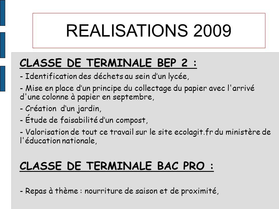 REALISATIONS 2009 CLASSE DE TERMINALE BEP 2 : - Identification des déchets au sein dun lycée, - Mise en place dun principe du collectage du papier ave