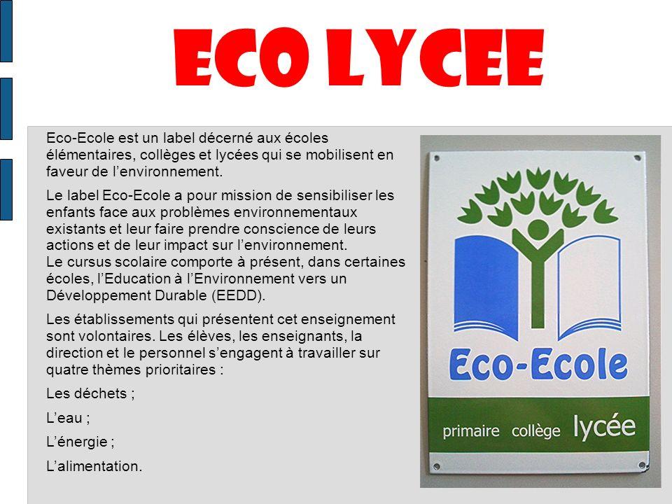 ECO LYCEE Eco-Ecole est un label décerné aux écoles élémentaires, collèges et lycées qui se mobilisent en faveur de lenvironnement. Le label Eco-Ecole