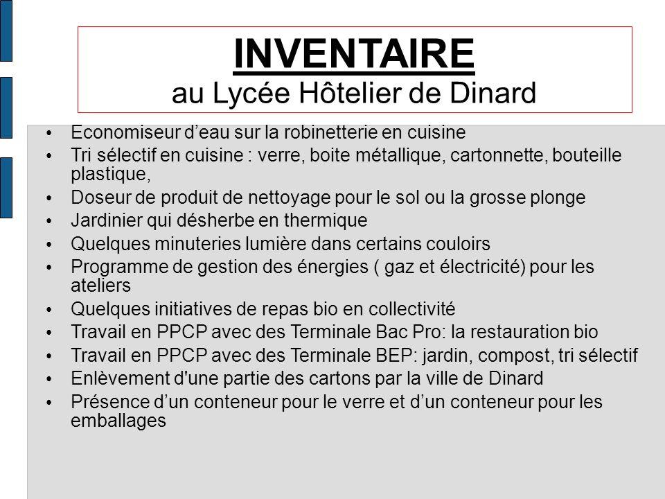 INVENTAIRE au Lycée Hôtelier de Dinard Economiseur deau sur la robinetterie en cuisine Tri sélectif en cuisine : verre, boite métallique, cartonnette,