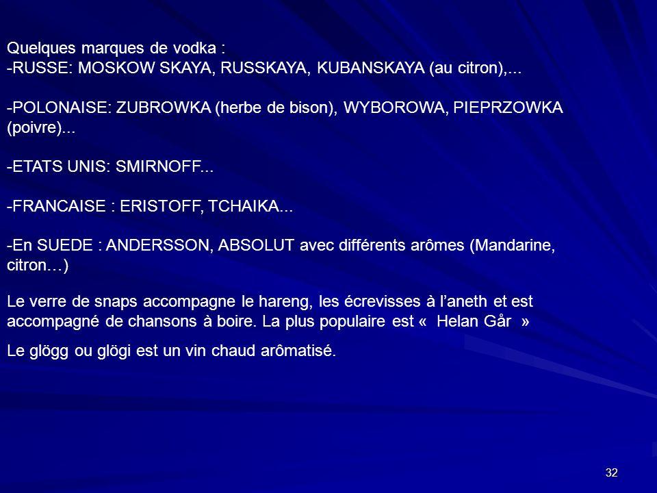 32 Quelques marques de vodka : -RUSSE: MOSKOW SKAYA, RUSSKAYA, KUBANSKAYA (au citron),... -POLONAISE: ZUBROWKA (herbe de bison), WYBOROWA, PIEPRZOWKA