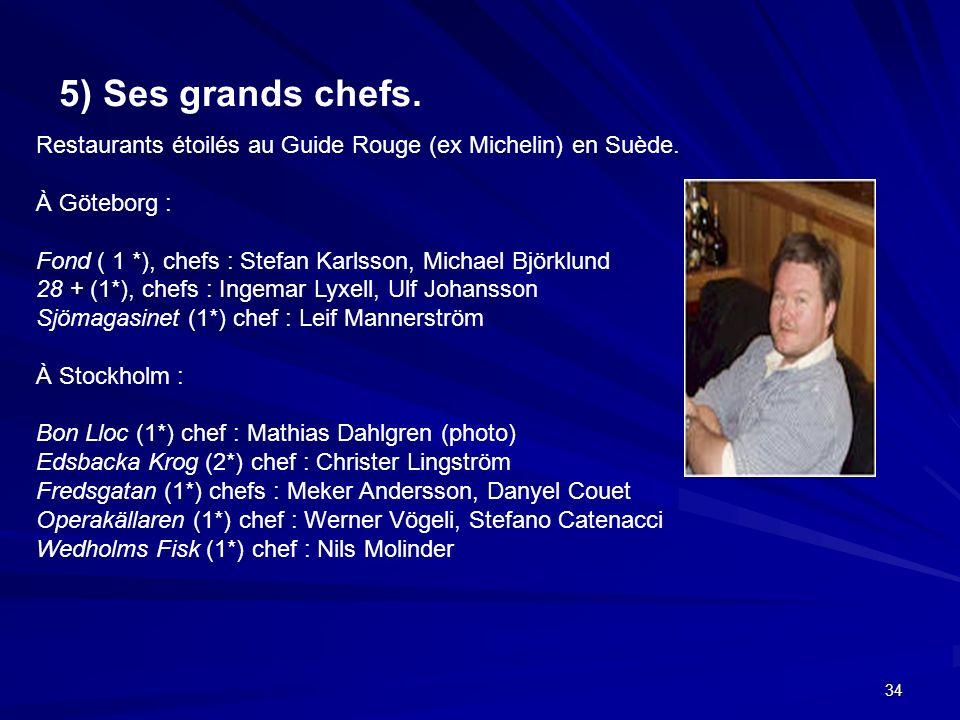 34 5) Ses grands chefs. Restaurants étoilés au Guide Rouge (ex Michelin) en Suède. À Göteborg : Fond ( 1 *), chefs : Stefan Karlsson, Michael Björklun