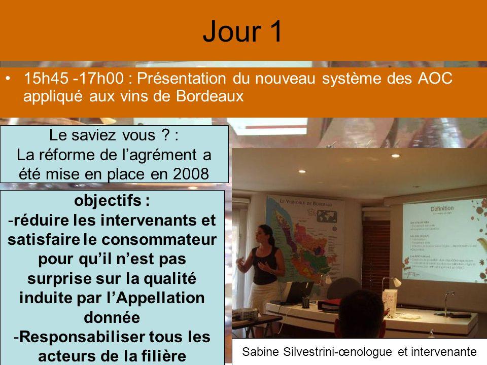 Jour 1 15h45 -17h00 : Présentation du nouveau système des AOC appliqué aux vins de Bordeaux Le saviez vous .