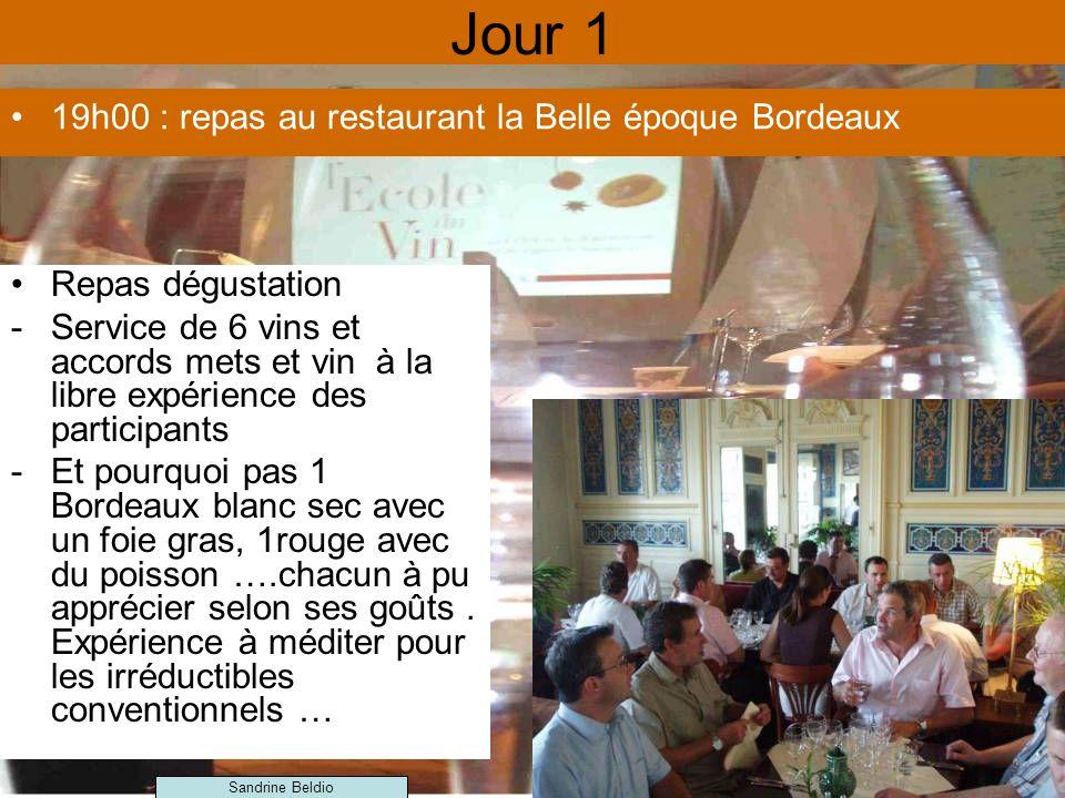 Jour 1 19h00 : repas au restaurant la Belle époque Bordeaux Repas dégustation -Service de 6 vins et accords mets et vin à la libre expérience des participants -Et pourquoi pas 1 Bordeaux blanc sec avec un foie gras, 1rouge avec du poisson ….chacun à pu apprécier selon ses goûts.
