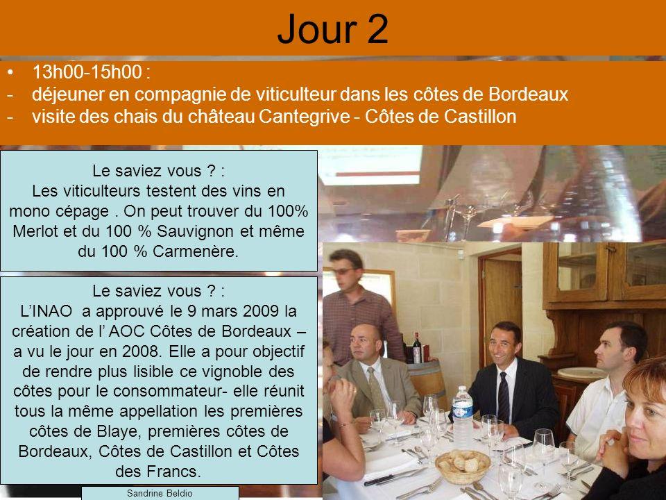 Jour 2 13h00-15h00 : -déjeuner en compagnie de viticulteur dans les côtes de Bordeaux -visite des chais du château Cantegrive - Côtes de Castillon Le saviez vous .
