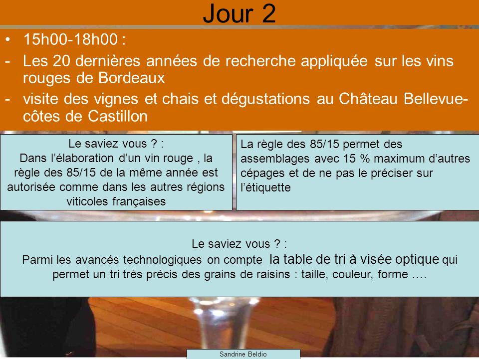 Jour 2 15h00-18h00 : -Les 20 dernières années de recherche appliquée sur les vins rouges de Bordeaux -visite des vignes et chais et dégustations au Château Bellevue- côtes de Castillon Le saviez vous .