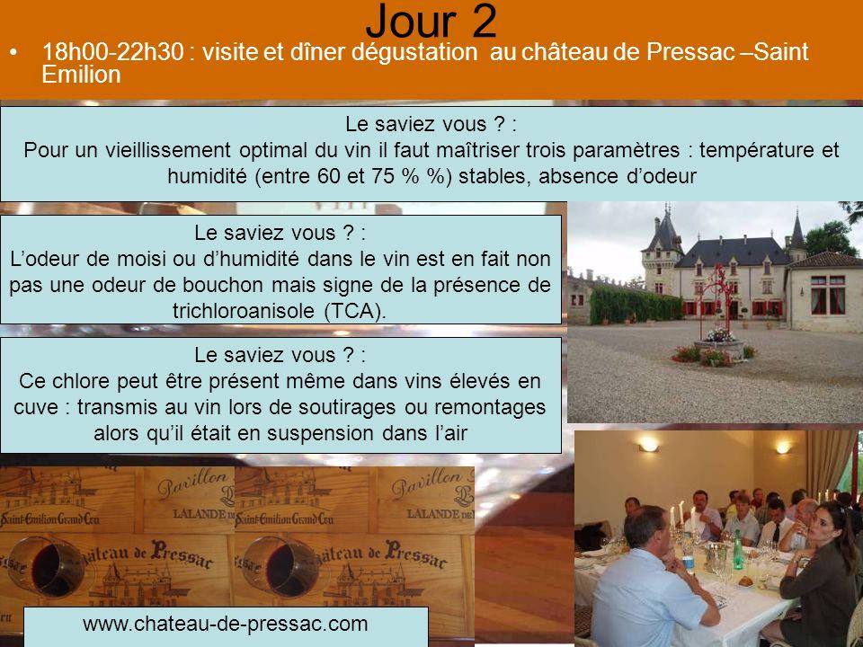 Jour 2 18h00-22h30 : visite et dîner dégustation au château de Pressac –Saint Emilion Le saviez vous .