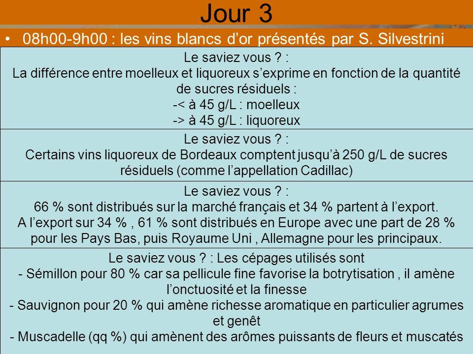 Jour 3 08h00-9h00 : les vins blancs dor présentés par S.