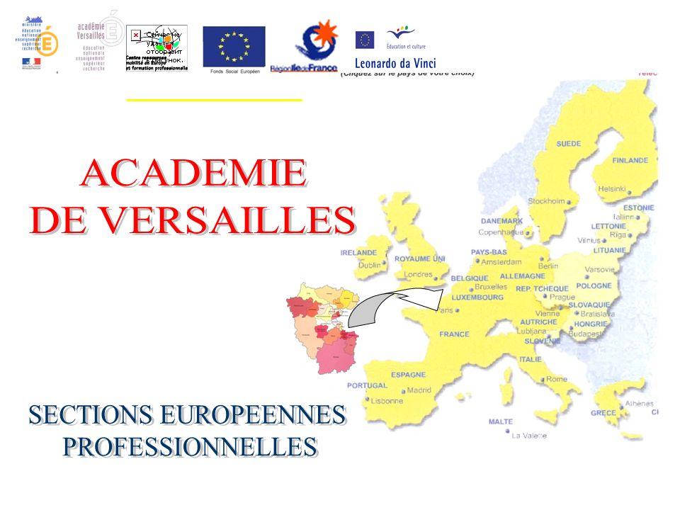 LES SECTIONS EUROPÉENNES PROFESSIONNELLES Objectifs : Consolider la professionnalité du baccalauréat professionnel Renforcer les compétences linguistiques Permettre ladaptabilité et linsertion professionnelle Développer la citoyenneté européenne Favoriser louverture culturelle et la mobilité
