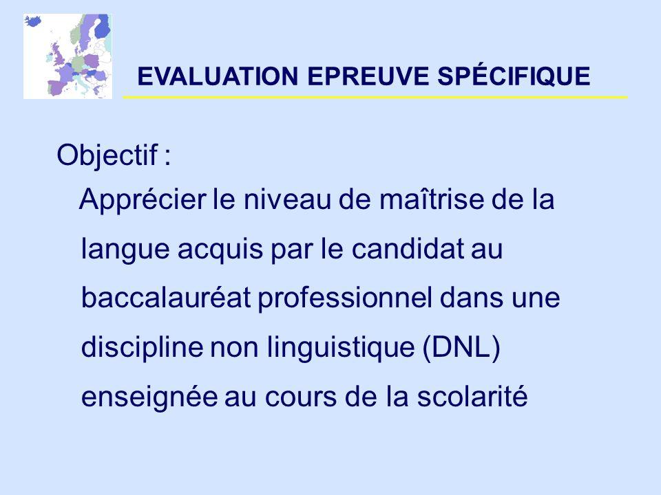 EVALUATION EPREUVE SPÉCIFIQUE Objectif : Apprécier le niveau de maîtrise de la langue acquis par le candidat au baccalauréat professionnel dans une di