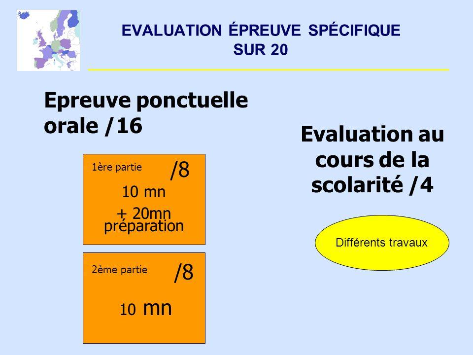 EVALUATION ÉPREUVE SPÉCIFIQUE SUR 20 Différents travaux Epreuve ponctuelle orale /16 Evaluation au cours de la scolarité /4 /8 10 mn + 20mn préparatio
