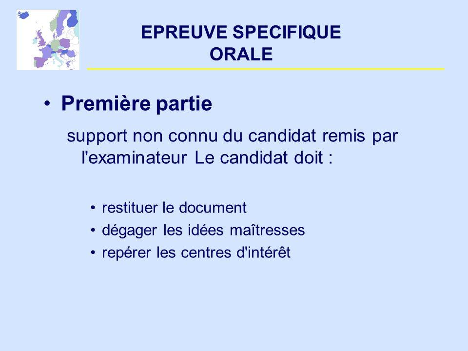 EPREUVE SPECIFIQUE ORALE Première partie support non connu du candidat remis par l'examinateur Le candidat doit : restituer le document dégager les id