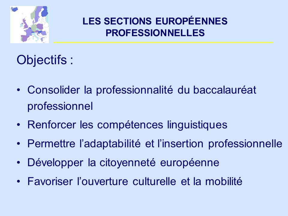 LES SECTIONS EUROPÉENNES PROFESSIONNELLES Objectifs : Consolider la professionnalité du baccalauréat professionnel Renforcer les compétences linguisti