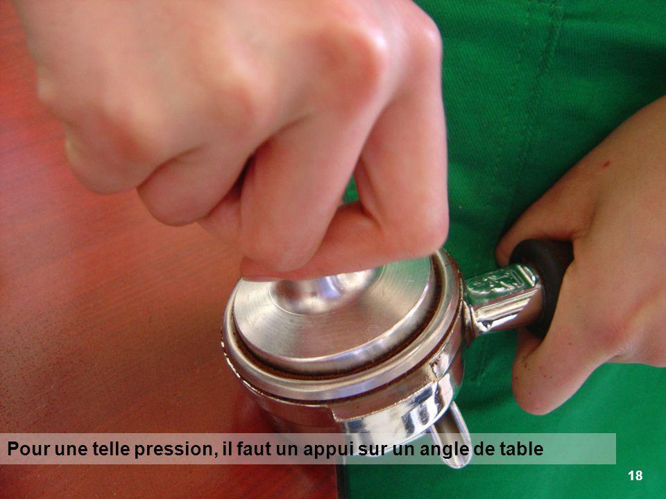 18 Pour une telle pression, il faut un appui sur un angle de table