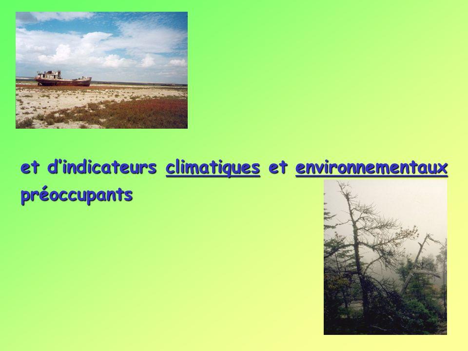 et dindicateurs climatiques et environnementaux préoccupants