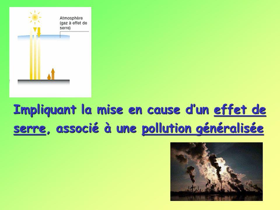 Impliquant la mise en cause dun effet de serre, associé à une pollution généralisée