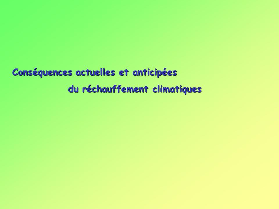Conséquences actuelles et anticipées du réchauffement climatiques