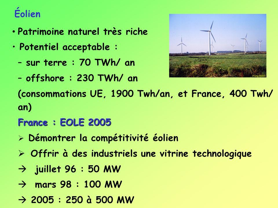 Patrimoine naturel très riche Potentiel acceptable : – sur terre : 70 TWh/ an – offshore : 230 TWh/ an (consommations UE, 1900 Twh/an, et France, 400 Twh/ an) France : EOLE 2005 Démontrer la compétitivité éolien Offrir à des industriels une vitrine technologique juillet 96 : 50 MW mars 98 : 100 MW 2005 : 250 à 500 MW Éolien