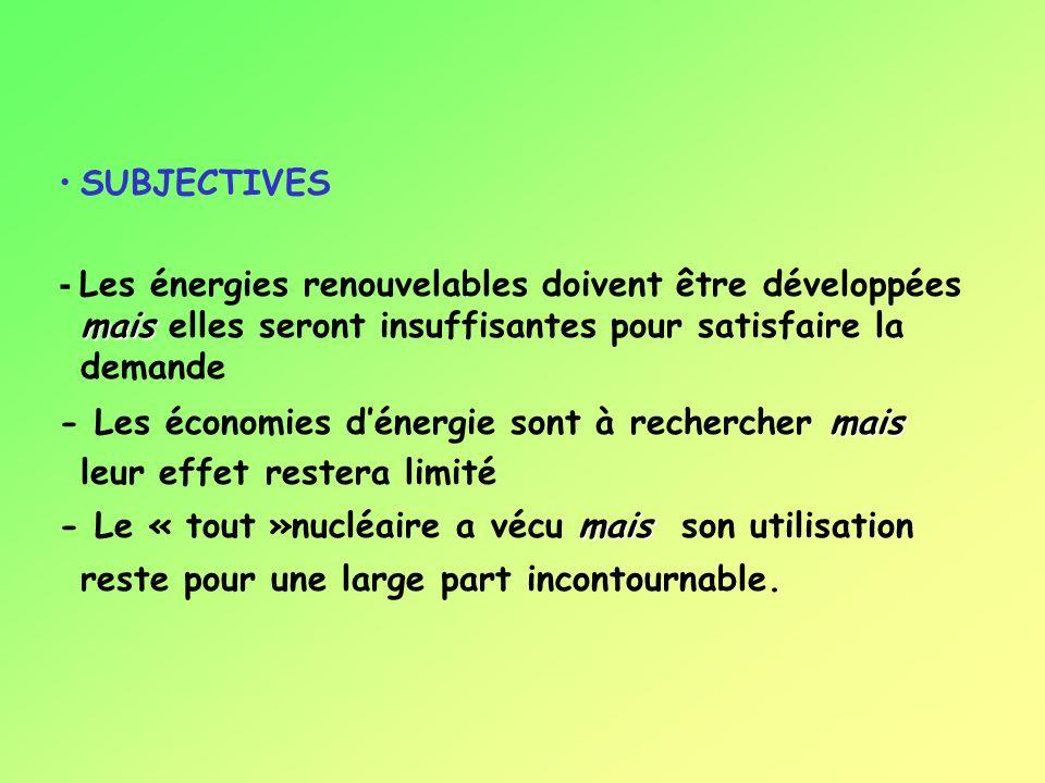 SUBJECTIVES mais - Les énergies renouvelables doivent être développées mais elles seront insuffisantes pour satisfaire la demande mais - Les économies dénergie sont à rechercher mais leur effet restera limité mais - Le « tout »nucléaire a vécu mais son utilisation reste pour une large part incontournable.