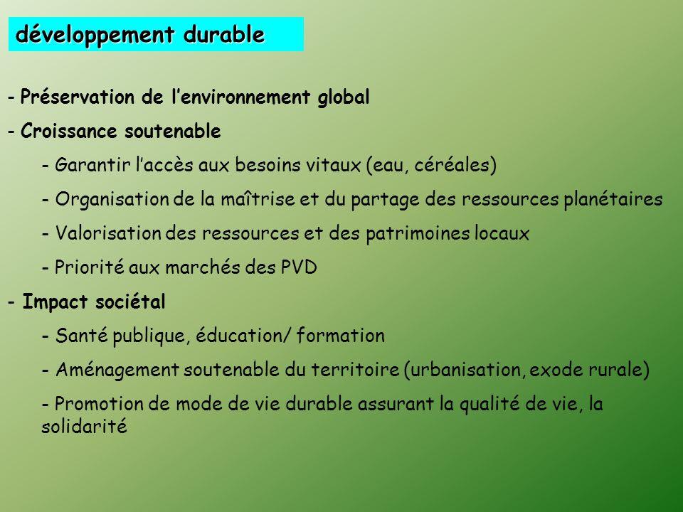 … qui doivent sinscrire dans le cadre dun développement durable Capacité de notre génération à améliorer sa situation matérielle tout en préservant le
