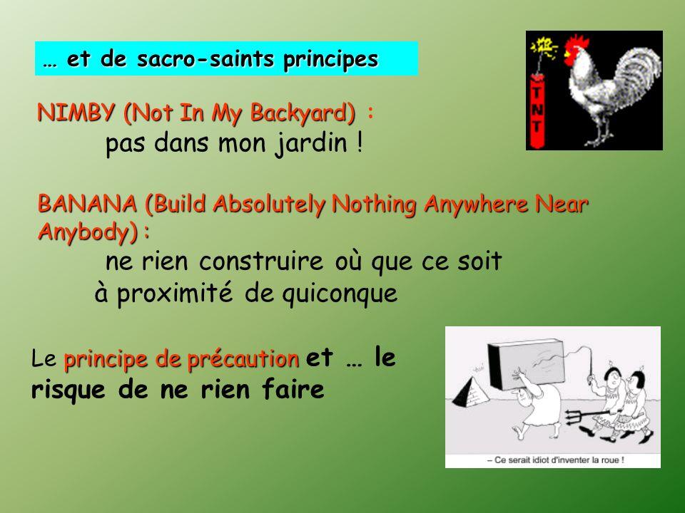 … et de sacro-saints principes NIMBY (Not In My Backyard) NIMBY (Not In My Backyard) : pas dans mon jardin .