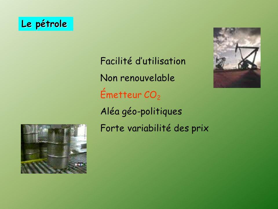 Le pétrole Facilité dutilisation Non renouvelable Émetteur CO 2 Aléa géo-politiques Forte variabilité des prix