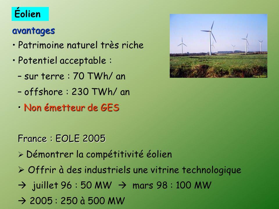 avantages Patrimoine naturel très riche Potentiel acceptable : – sur terre : 70 TWh/ an – offshore : 230 TWh/ an Non émetteur de GES Non émetteur de GES France : EOLE 2005 Démontrer la compétitivité éolien Offrir à des industriels une vitrine technologique juillet 96 : 50 MW mars 98 : 100 MW 2005 : 250 à 500 MW Éolien