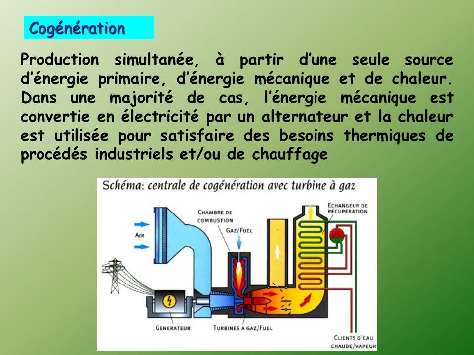 Production simultanée, à partir dune seule source dénergie primaire, dénergie mécanique et de chaleur.