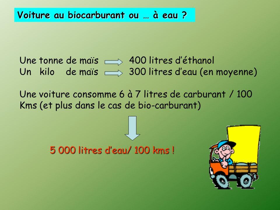 Une tonne de maïs 400 litres déthanol Un kilo de maïs 300 litres deau (en moyenne) Une voiture consomme 6 à 7 litres de carburant / 100 Kms (et plus dans le cas de bio-carburant) 5 000 litres deau/ 100 kms .