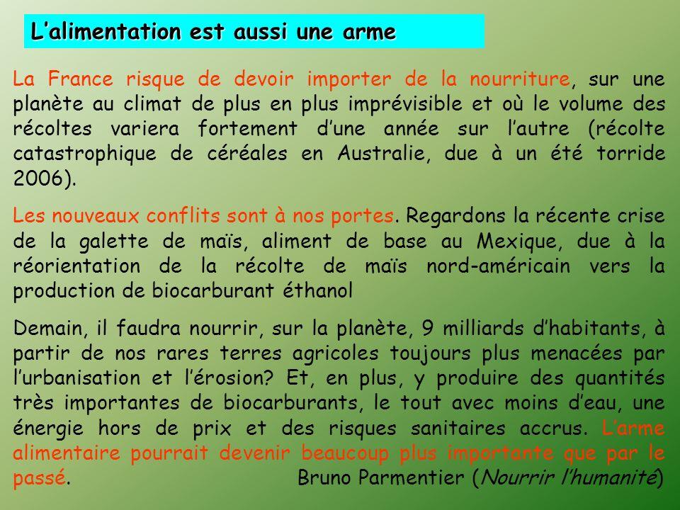 Lalimentation est aussi une arme La France risque de devoir importer de la nourriture, sur une planète au climat de plus en plus imprévisible et où le volume des récoltes variera fortement dune année sur lautre (récolte catastrophique de céréales en Australie, due à un été torride 2006).