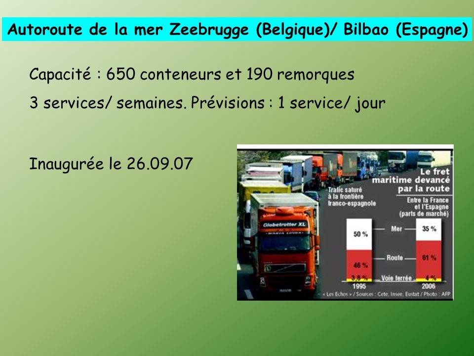 Autoroute de la mer Zeebrugge (Belgique)/ Bilbao (Espagne) Capacité : 650 conteneurs et 190 remorques 3 services/ semaines.