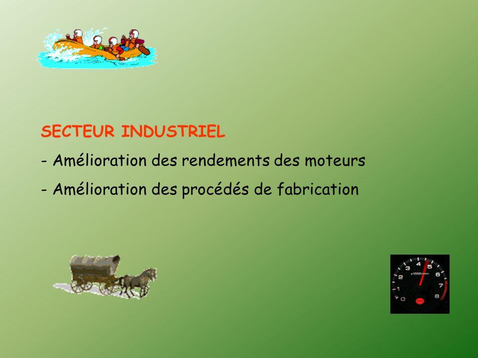 SECTEUR INDUSTRIEL - Amélioration des rendements des moteurs - Amélioration des procédés de fabrication