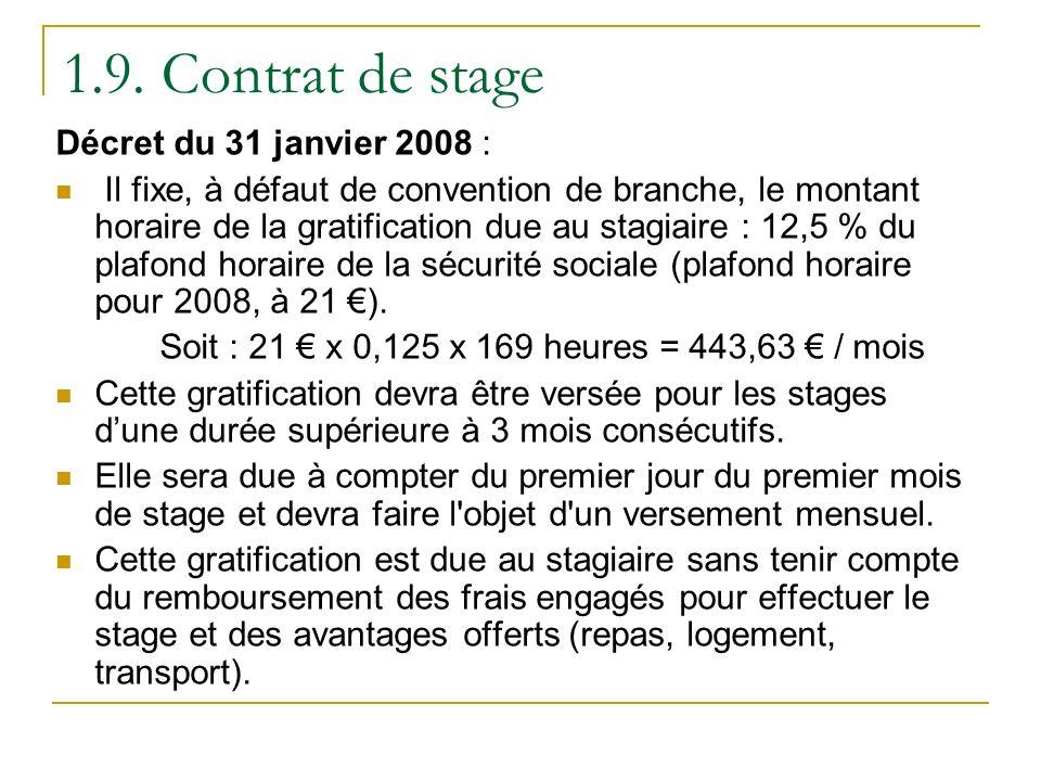 1.9. Contrat de stage Décret du 31 janvier 2008 : Il fixe, à défaut de convention de branche, le montant horaire de la gratification due au stagiaire