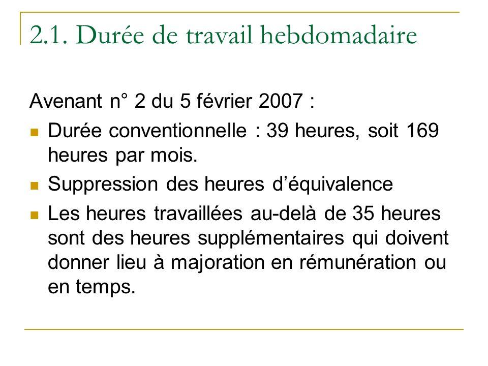 2.1. Durée de travail hebdomadaire Avenant n° 2 du 5 février 2007 : Durée conventionnelle : 39 heures, soit 169 heures par mois. Suppression des heure