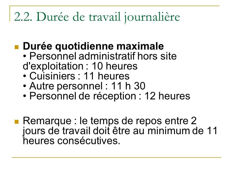 2.2. Durée de travail journalière Durée quotidienne maximale Personnel administratif hors site d'exploitation : 10 heures Cuisiniers : 11 heures Autre