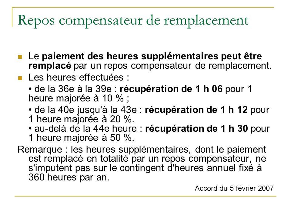 Repos compensateur de remplacement Le paiement des heures supplémentaires peut être remplacé par un repos compensateur de remplacement.