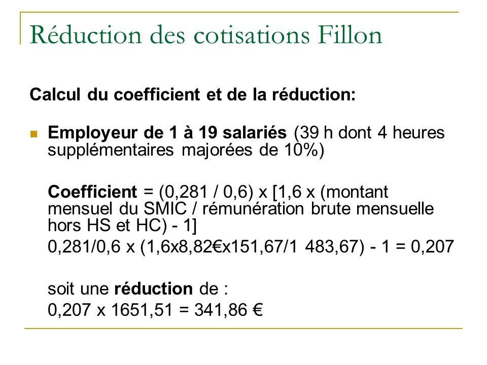 Réduction des cotisations Fillon Calcul du coefficient et de la réduction: Employeur de 1 à 19 salariés (39 h dont 4 heures supplémentaires majorées de 10%) Coefficient = (0,281 / 0,6) x [1,6 x (montant mensuel du SMIC / rémunération brute mensuelle hors HS et HC) - 1] 0,281/0,6 x (1,6x8,82x151,67/1 483,67) - 1 = 0,207 soit une réduction de : 0,207 x 1651,51 = 341,86