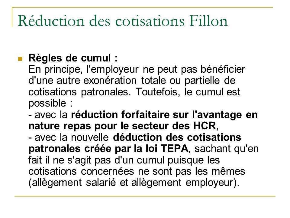 Réduction des cotisations Fillon Règles de cumul : En principe, l employeur ne peut pas bénéficier d une autre exonération totale ou partielle de cotisations patronales.