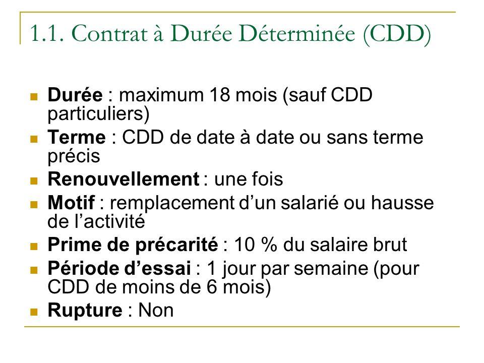 1.1. Contrat à Durée Déterminée (CDD) Durée : maximum 18 mois (sauf CDD particuliers) Terme : CDD de date à date ou sans terme précis Renouvellement :