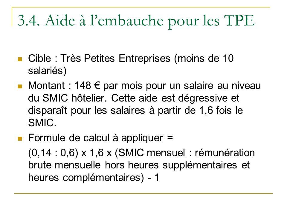 3.4. Aide à lembauche pour les TPE Cible : Très Petites Entreprises (moins de 10 salariés) Montant : 148 par mois pour un salaire au niveau du SMIC hô