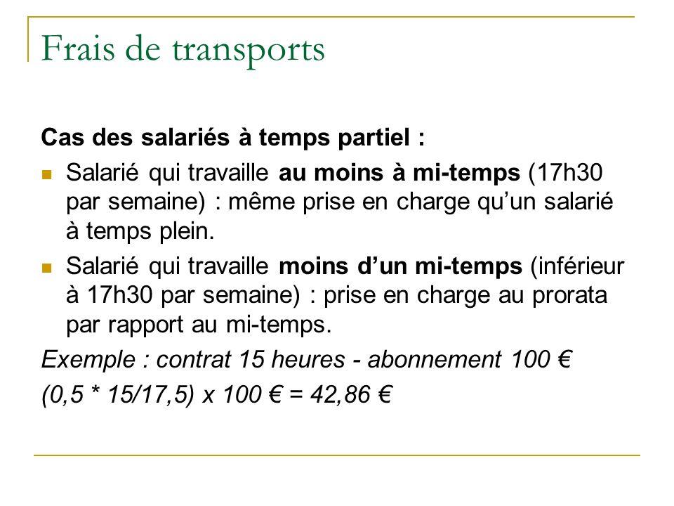 Frais de transports Cas des salariés à temps partiel : Salarié qui travaille au moins à mi-temps (17h30 par semaine) : même prise en charge quun salarié à temps plein.