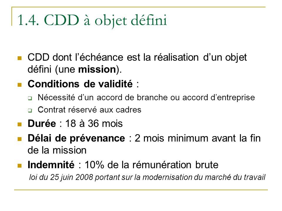 1.4.CDD à objet défini CDD dont léchéance est la réalisation dun objet défini (une mission).
