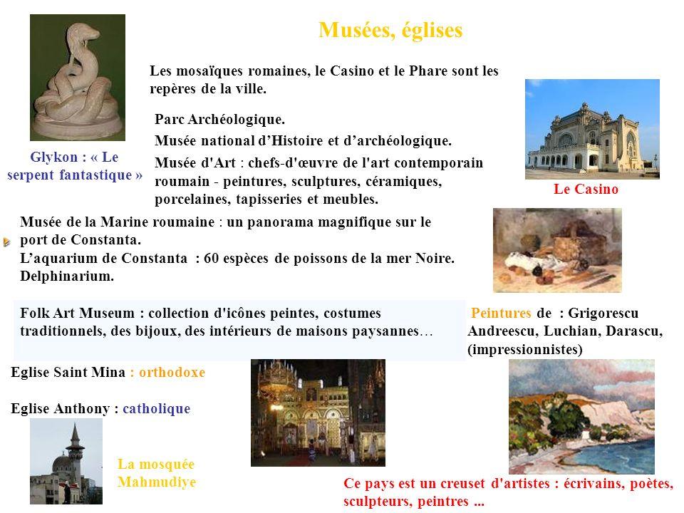 Musées, églises Parc Archéologique. Musée national dHistoire et darchéologique. Musée d'Art : chefs-d'œuvre de l'art contemporain roumain - peintures,