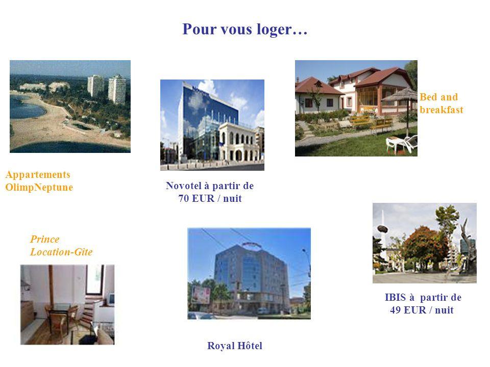 Pour vous loger… Bed and breakfast Appartements OlimpNeptune Prince Location-Gîte Royal Hôtel Novotel à partir de 70 EUR / nuit IBIS à partir de 49 EU