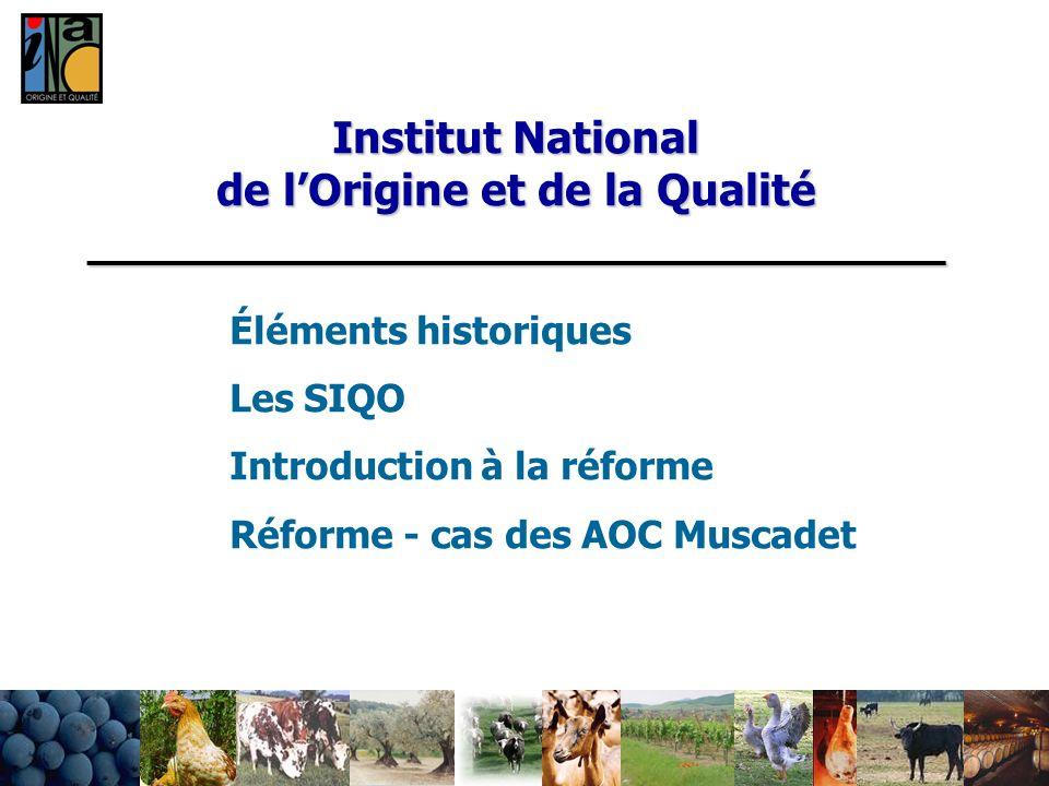 Institut National de lOrigine et de la Qualité _______________________________ Éléments historiques Les SIQO Introduction à la réforme Réforme - cas d