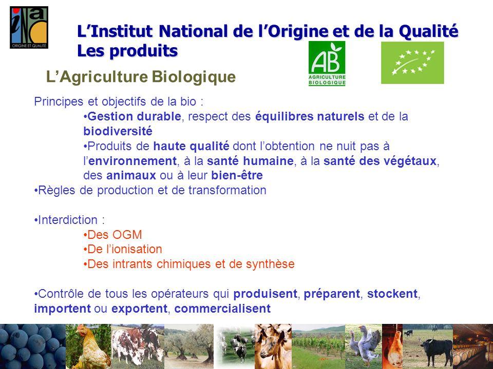 LAgriculture Biologique Principes et objectifs de la bio : Gestion durable, respect des équilibres naturels et de la biodiversité Produits de haute qu