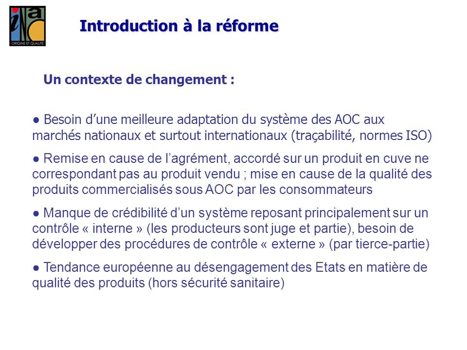 Introduction à la réforme Un contexte de changement : Besoin dune meilleure adaptation du système des AOC aux marchés nationaux et surtout internation