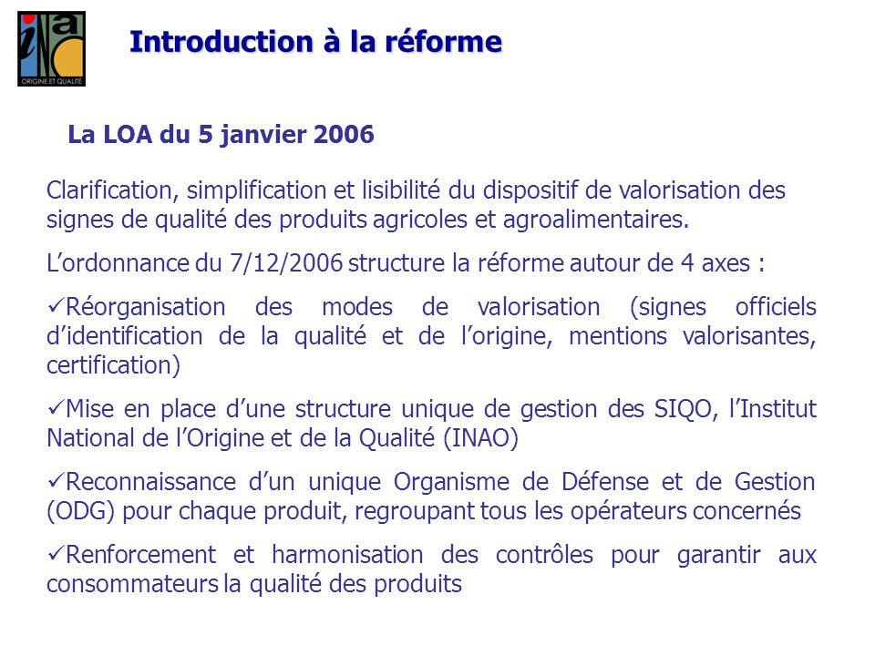 La LOA du 5 janvier 2006 Clarification, simplification et lisibilité du dispositif de valorisation des signes de qualité des produits agricoles et agr