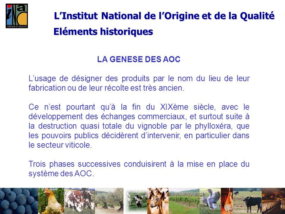 2 LInstitut National de lOrigine et de la Qualité LA GENESE DES AOC Lusage de désigner des produits par le nom du lieu de leur fabrication ou de leur