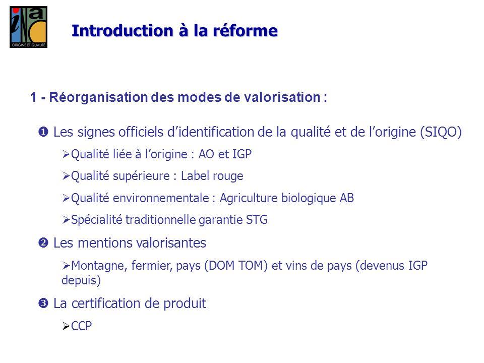 1 - Réorganisation des modes de valorisation : Les signes officiels didentification de la qualité et de lorigine (SIQO) Qualité liée à lorigine : AO e