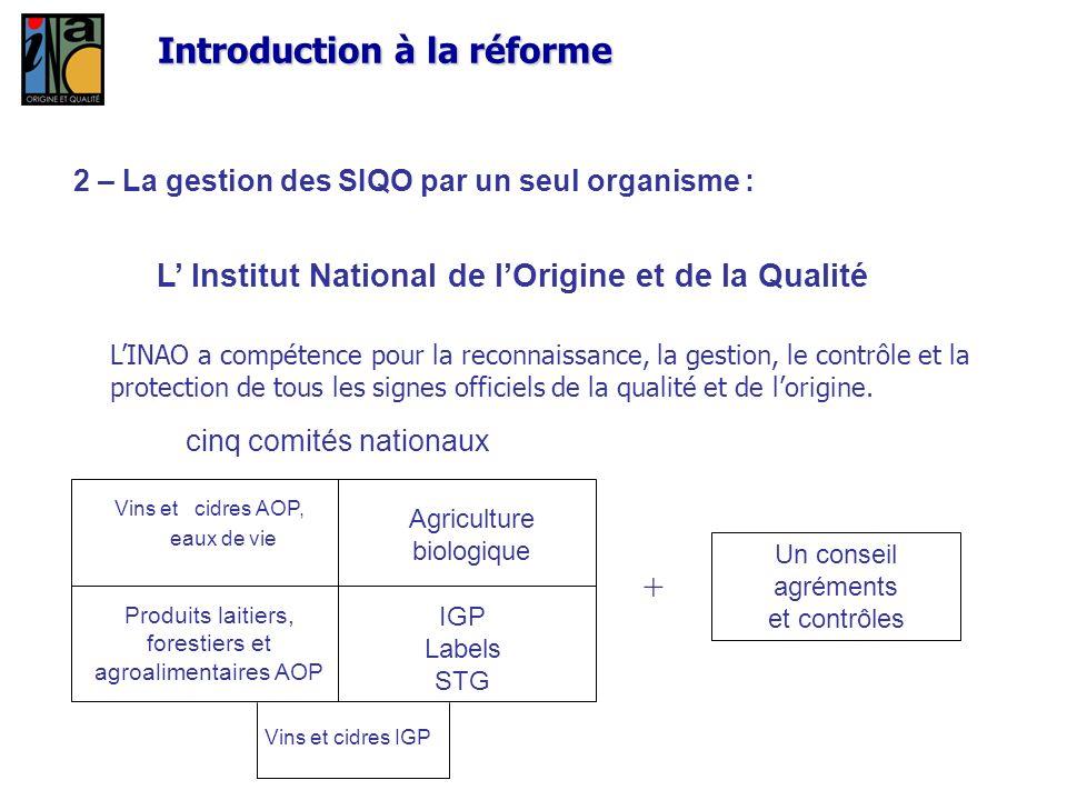 Introduction à la réforme 2 – La gestion des SIQO par un seul organisme : L Institut National de lOrigine et de la Qualité cinq comités nationaux Un c